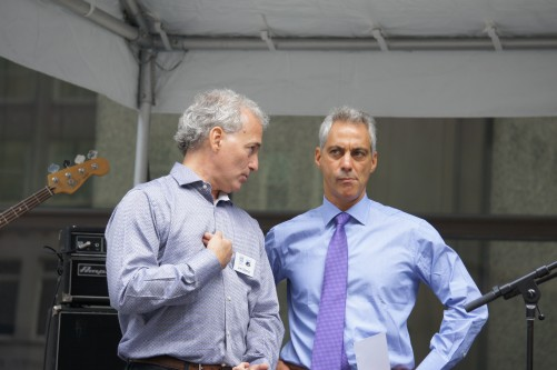 Jim Slama of FamilyFarmed.org and Chicago Mayor Rahm Emanuel
