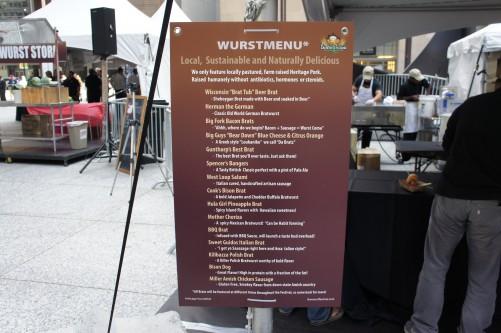 Chicago Wurst Festival sausage menu
