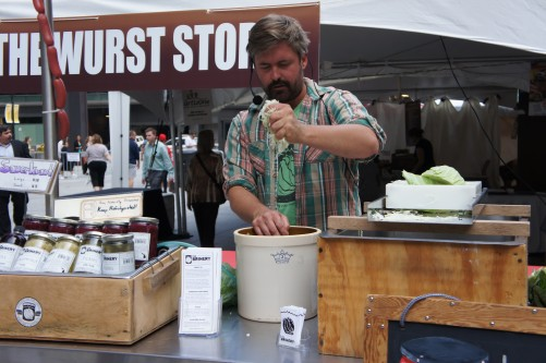 David Klingenberger of The Brinery in Ann Arbor, Mich., demonstrates sauerkraut making