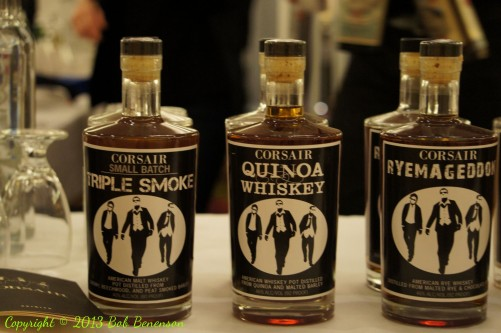 The Independent Spirits Expo in Chicago Sept. 25 featured products from dozens of craft distilleries, including Corsair of Nashville, Tenn., whose Quinoa Whiskey highlights the use of non-traditional grains by some craft producers.