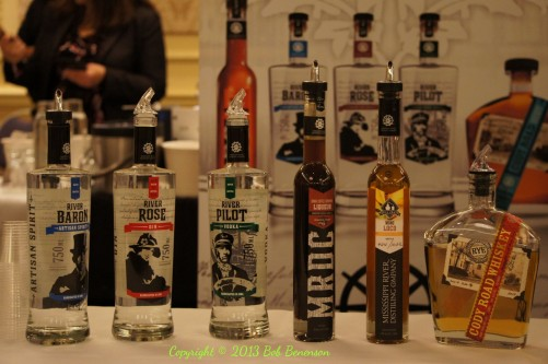 Products from Mississippi River Distilling of LeClaire, Iowa, at the Independent Spirits Expo.