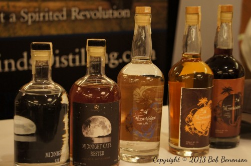 Products from Tailwinds Distilling of Plainfield, Ill., at the Independent Spirits Expo.