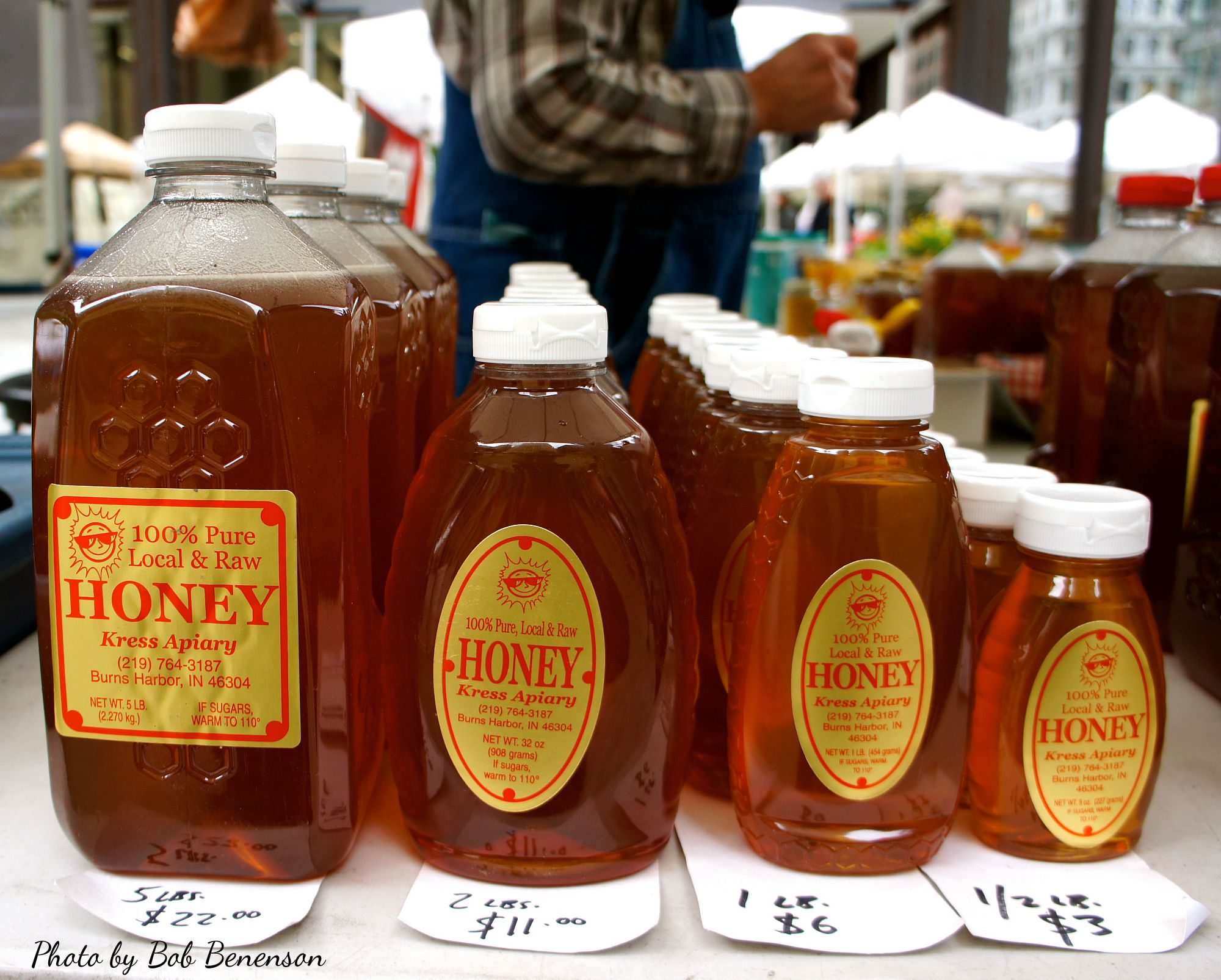 Honey from Kress Apiary of Burns Harbor, Ind., at the Daley Plaza Farmers Market in Chicago