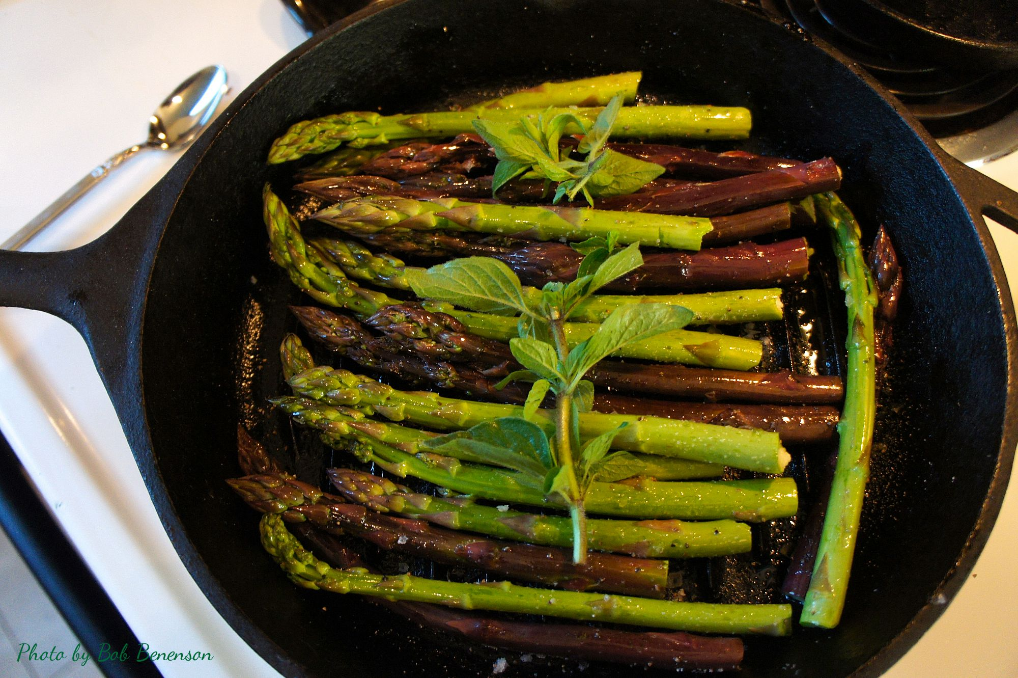 Fresh spring asparagus from Chicago's Green City Market, ready for roasting