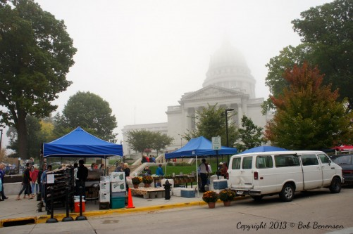 The Dane County Farmers Market, described as the nation's largest producer-only farmers market, rings the state Capitol in Madison, Wis., on Saturdays from spring to fall.
