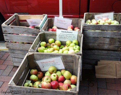 Heirloom apples from Weston's Antique Apple Orchard in New Berlin, Wis., for sale at the Dane County Farmers Market.