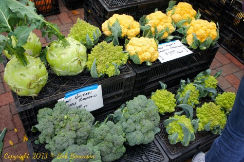 Kohlrabi and cruciferous vegetables such as broccoli and cauliflower are in season in early October