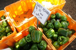 Green peppers at Chicago's Green City Market
