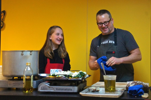 Chicago chef Paul Kahan and White House children's cooking contest winner Tess Boghossian