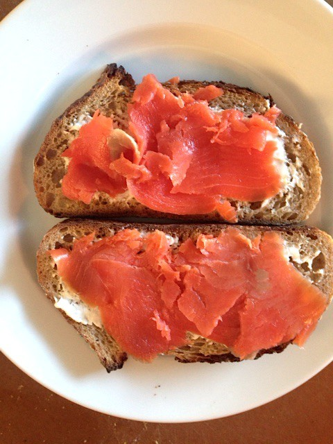Smoked salmon on PQM rye