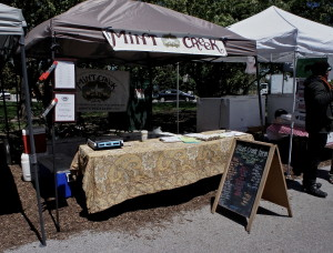 Mint Creek farmers market stand