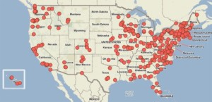 The red dots represent the locations of food hubs across the United States. Source: National Good Food Network