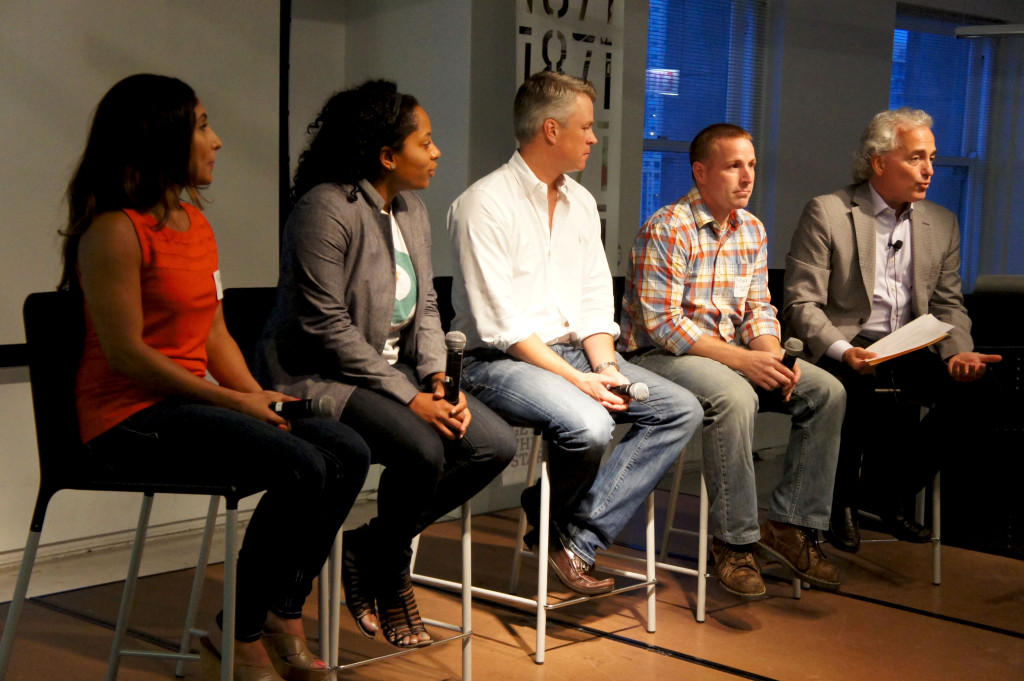 A panel of first-year Good Food Business Accelerator Fellows participated in the September 2015 event at 1871 to promote the upcoming second year of the program. Left to right, Rowida Assalimy of Kishr, Riana Lynn of FoodTrace, Shane Christensen of dailyServing, Mark Schneider of Living Water Farms, and FamilyFarmed President Jim Slama.