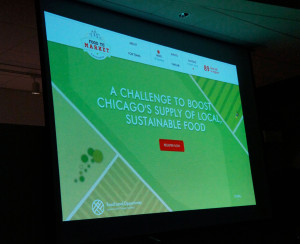 The Food to Market Challenge homepage, projected at the Jan. 27 event, provides a link to the contest's registration form.