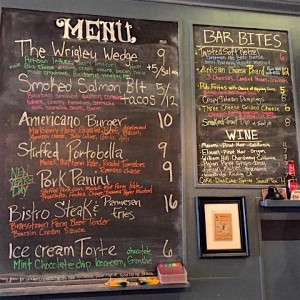 The menu board at Wrigley Taproom and Brewery, one of the businesses that is using local ingredients to help boost the area's economy. Photo credit: Community Farm Alliance