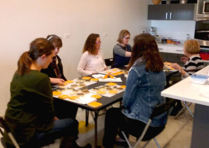 A class on decorating butter cookies at SAAGE Culinary Kitchen, which provided the photo.
