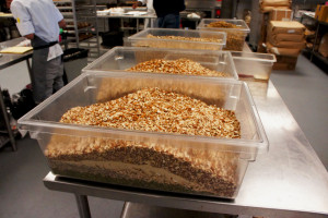 The Kitchfix kitchen west of downtown Chicago uses lots of chopped nuts in its granola and other products.