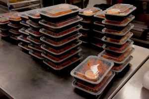 Prepared meals stacked in the Kitchfix kitchen.