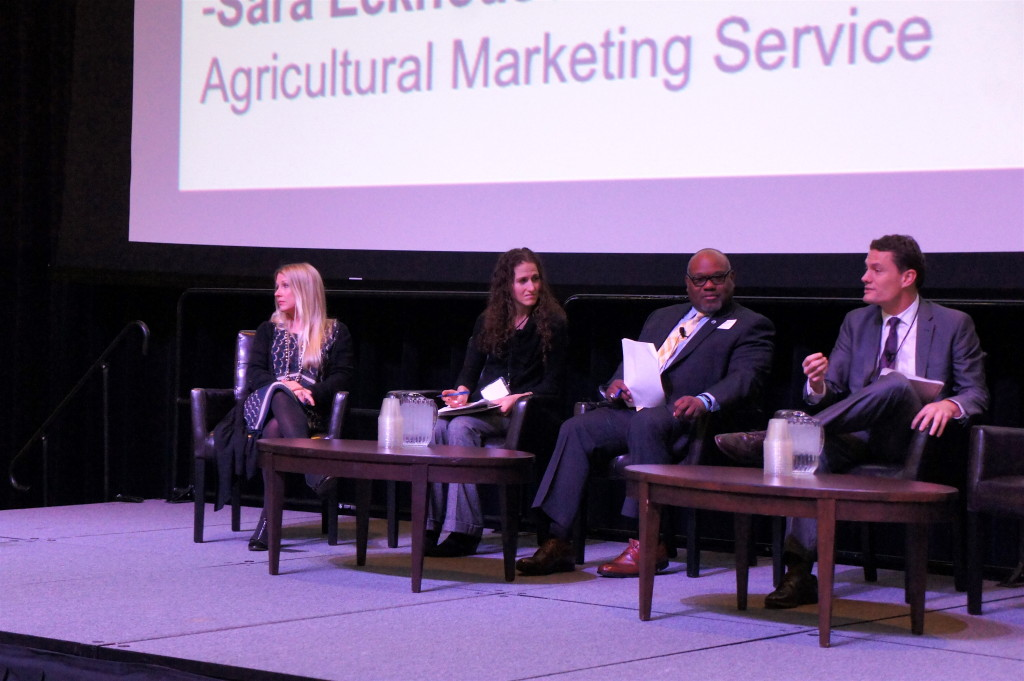 Agriculture Secretary Tom Vilsack's remarks on Good Food public policy were expanded upon in a following panel featuring USDA officials: (from right) Sam Rikkers, administrator of USDA Rural Development; Michael Alston, associate administrator, USDA Risk Management Agency; and Sara Eckhouse, chief of staff of the USDA Agriculture Marketing Service. The panel was introduced by Marianne Markowitz (left), Midwest region adminstrator for the U.S. Small Business Administration.
