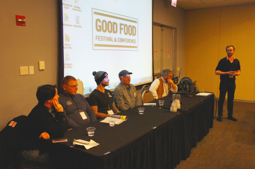 A panel on making better flour with better flour featured (from left) Ellen King of Hewn bakery in Evanston, Harold Wilken of Janie's Farm in Danforth IL, Greg Wade of Chicago's Publican Quality Bread, owner Don Lewis of New York's Wild Hive Farm, Gilbert Williams of Wisconsin's Lonesome Stone Milling, and moderator Jeff Hake of The Land Connection. King will conduct a Festival workshop at noon on breadmaking with heirloom grains along with Andrea Hazzard of Illinois' Hazzard Free Farm.