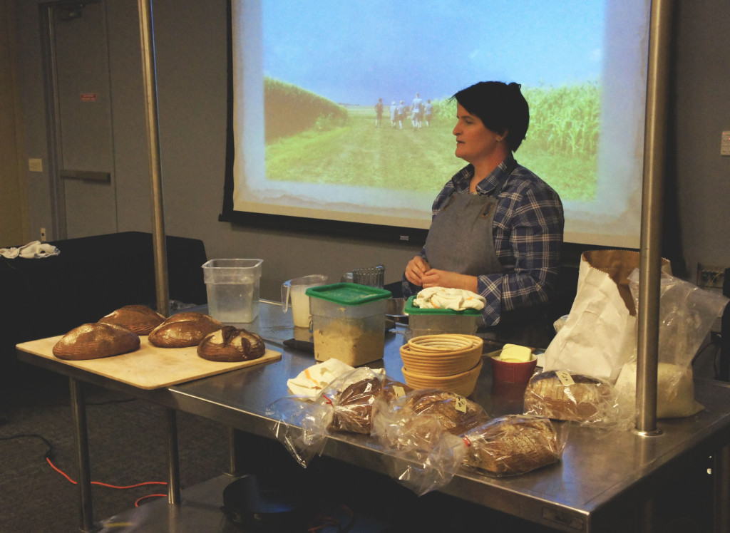 Ellen King, owner and head baker at Hewn bakery in suburban Evanston, held a workshop on baking bread with heirloom grains. She gets much of her grain from Hazzard Free Farm in Pecatonica, Illinois, whose owner, Andrea Hazzard, participated in the workshop.