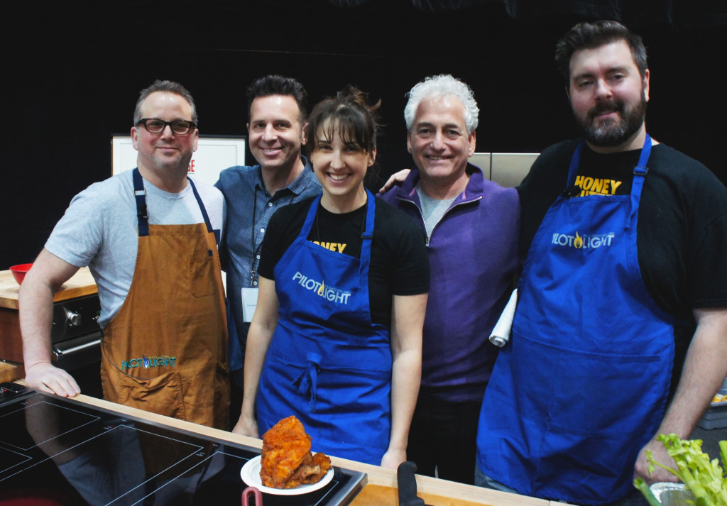 The Good Food Festival featured a chef demo aimed at spotlighting the Pilot Light program, in which chefs work with Chicago Public Schools to promote food education. From left, Paul Kahan of Chicago's One Off Hospitality restaurant group; food journalist Steve Dolinsky; and Honey Butter Fried Chicken's Christine Cikowski and Josh Kulp flanking FamilyFarmed President Jim Slama.