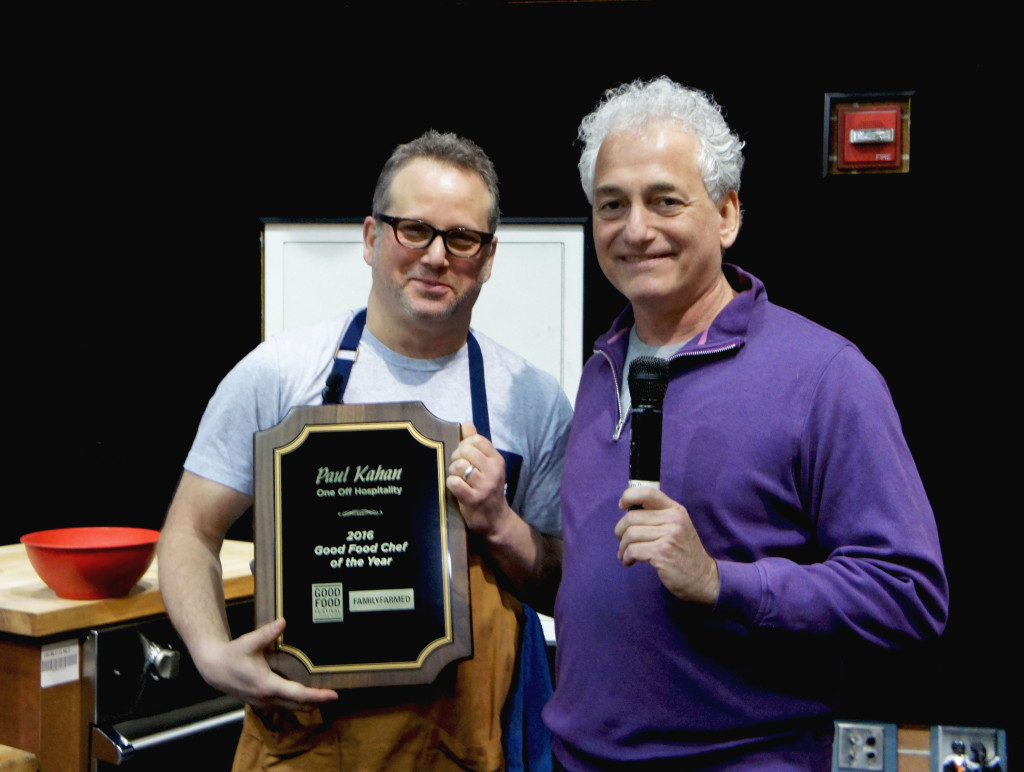 Paul Kahan (left) received FamilyFarmed's Good Food Chef of the Year Award from organization President Jim Slama at the 2016 Good Food Festival. Kahan — who delivered a keynote speech at FamilyFarmed's first Good Food trade show in 2004 — was honored for his dedication to local and sustainable sourcing at Chicago's prominent One Off Hospitality Group restaurants.