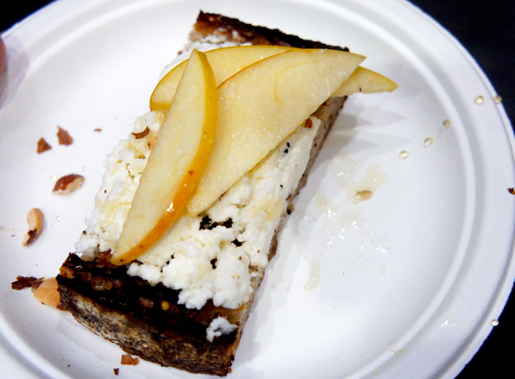 "The word ""fettunta"" is the Tuscan word for ""soaked slice"" or, as Kahan describes it ""greasy garlic bread."" The version at the Good Food Festival demo — made with bread from One Off's Publican Quality Bread, farmers cheese, honey and apples — was defined as delicious and easy to make."