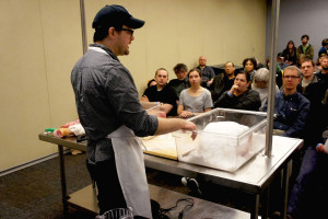 Rob Levitt of The Butcher & Larder at Local Foods conducted a workshop about curing ham at home at FamilyFarmed's 2016 Good Food Festival on March 26.