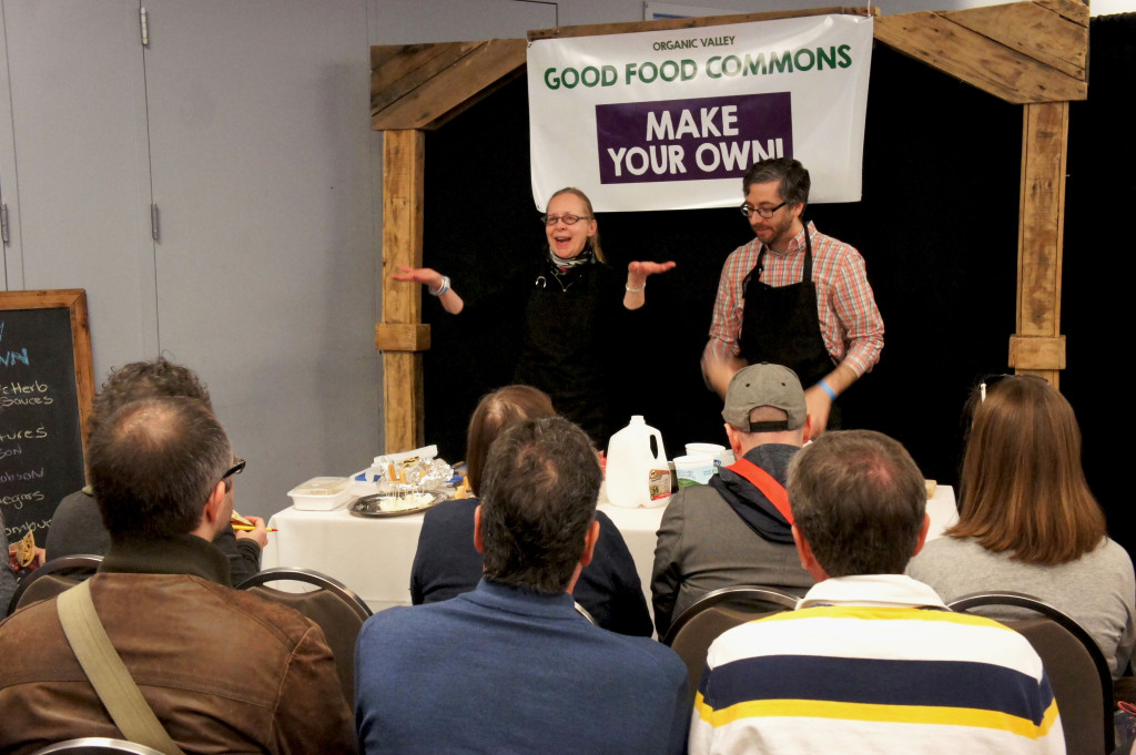 "The Organic Valley Good Food Commons at the Good Food Festival presented dozens of DIY mini-workshops. Here, Elsa Jacobson and David Arfa conducted a workshop titled ""Beyond Ricotta: A Fresh Approach to Dairy."""