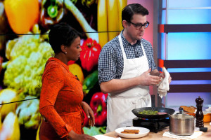 Rob Levitt of Chicago's The Butcher & Larder meat shop chat with Fox32 newscaster Darlene Hill during a March 22 demo in support of his ham curing workshop this Saturday at FamilyFarmed's Good Food Festival.