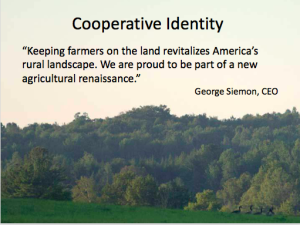 George Siemon's philosophy about sustainable agriculture and the Good Food movement is represented by this quote from a PowerPoint display shown during the Good Food Business of the Year Award ceremony on March 24.