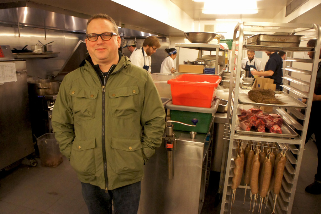 Award-winning Chicago chef Paul Kahan in the busy kitchen of Publican Quality Meats, one of eight establishments currently run by his One Off Hospitality Group. Kahan will receive FamilyFarmed's Good Food Chef of the Year Award for his dedication to local sourcing and sustainability at the Good Food Festival on March 26.