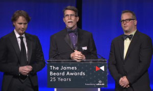 Paul Kahan (right) co-chaired the James Beard Foundation Awards ceremony in Chicago in May 2015 with fellow Chicago chefs Grant Achatz (left) and Rick Bayless (center).