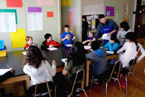 Pilot Light chefs Christine Cikowski and Josh Kulp of Chicago's Honey Butter Fried Chicken and Sunday Dinner Club, taught a 4th grade class on regional U.S. foods on Feb. 29. Kulp was a grade school teacher before pursuing a career in food.
