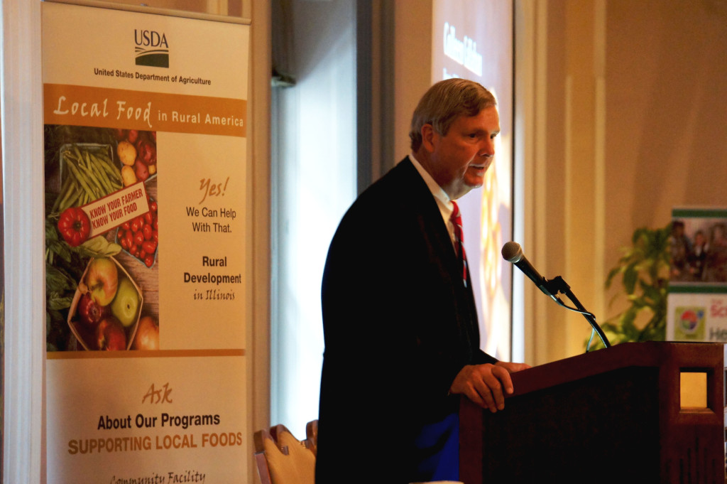 "U.S. Secretary of Agriculture Tom Vilsack spoke at a ""Know Your Farmer, Know Your Food"" symposium in Chicago on Sept. 11, 2015. The program featured USDA programs that assist small and medium-sized farmers, new farmers, rural development, and farmers markets."