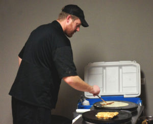 Turning batter into thin, delicious crepes is something of an art, and Ryan Jones of Gotta B Crepes does it with flair. Here he prepared savory and sweet crepes for an event at FamilyFarmed's home office in downtown Chicago on Feb. 2.