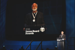 Father Greg Boyle of Los Angeles' food-based Homeboy Industries accepted his well-deserved James Beard Humanitarian Award.