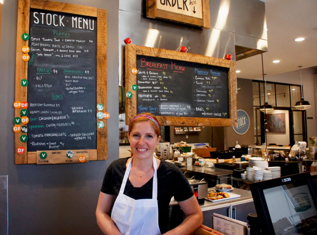 Chef Abra Berens of Stock — the cafe at Local Foods, where the ever-changing, seasonally driven menu is listed on chalkboards.
