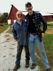 Marty Travis (left), with Chef Tom Leavitt of White Oak Gourmet, is a Good Food movement leader who works with his family at Spence Farm in Fairbury, Illinois to grow sustainable and heirloom products for the Chicago market.