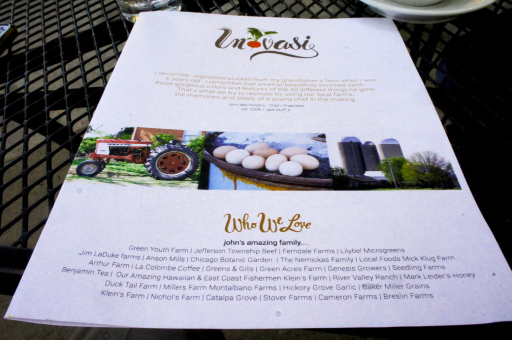 The front of the menu at Inovasi in Lake Bluff, Illinois quotes chef-owner John Des Rosiers on his farm to table philosophy and include a long list of local and regional producers from whom he sources his ingredients. Photo : Bob Benenson/FamilyFarmed