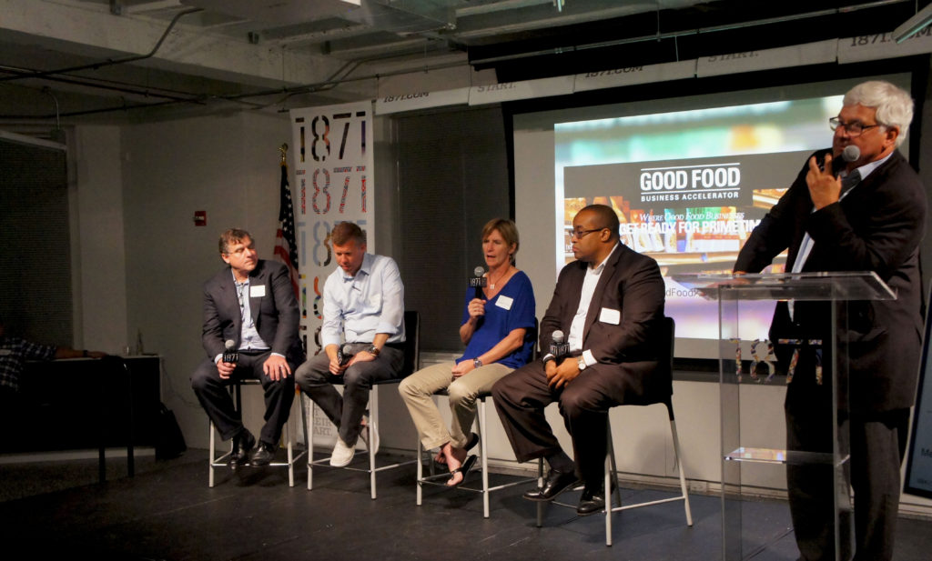 "The Good Food Business Accelerator's ""Application Celebration"" at 1871 on Sept. 13 featured a panel of investors in the Good Food space. From right, moderator Bram Bluestein of Bluestein and Associates; Herb Henderson of Blueprint Foods; DD Danforth Burlin of SLoFIG; Stephen Gaither of JB Chicago; and Mark Thomann of River West Brands. Photo: Bob Benenson/FamilyFarmed"