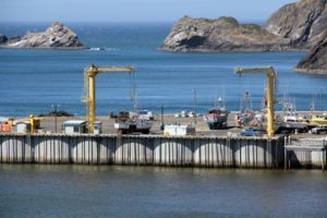 "The ""dolly dock"" at the Port of Port Orford is the only one in America and one of just a few in the world. Because the port is directly on the ocean, without a safe harbor, cranes lift boats in and out of the water. Boats park in homemade moveable ""dollies."" Photo: Port Orford Sustainable Seafood"