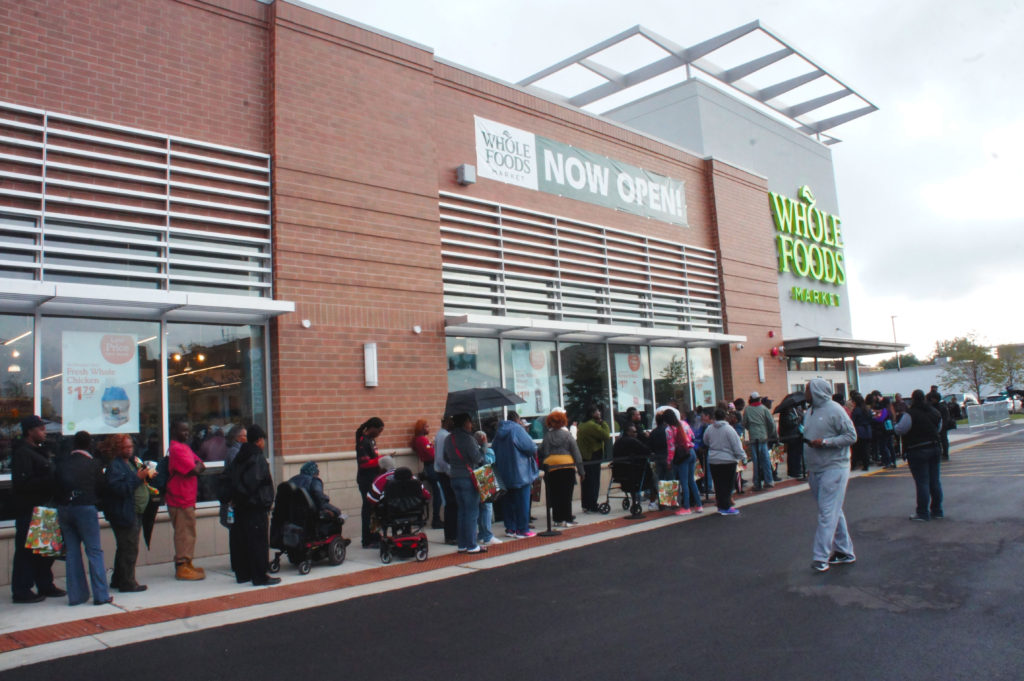 A long line of shoppers, most from the surrounding neighborhood, turned out for the opening of the Englewood store.