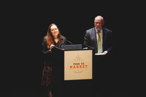 Renee Michaels of Kinship Foundation and Terry Mazany of The Chicago Community Trust — whose organizations partnership on the Food To Market Challenge — addressed the audience just before the winner of the $500,000 award was announced.